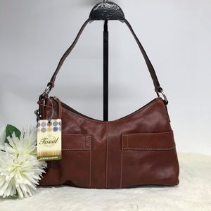 Fossil Leather Purse Cameron Hobo Cognac Brown